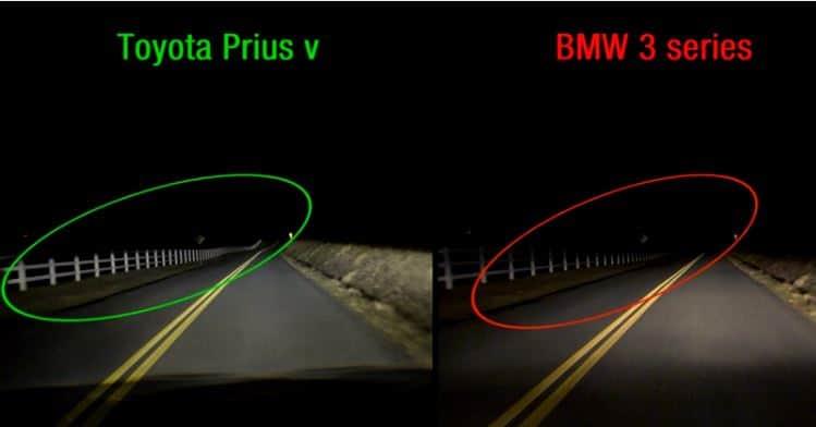 ToyotaPriusvsBMW3lights