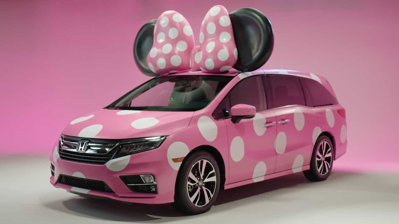 Pink Polka Dot Minnie Mouse Van Drives Disney Fans